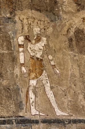 Fresco painting in Mortual Temple of Hatshepsut, Deir el-Bahri, Egypt photo