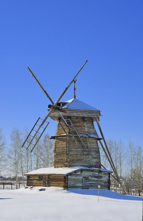 Old windmill in Suzdal museum of wooden art, Russia photo