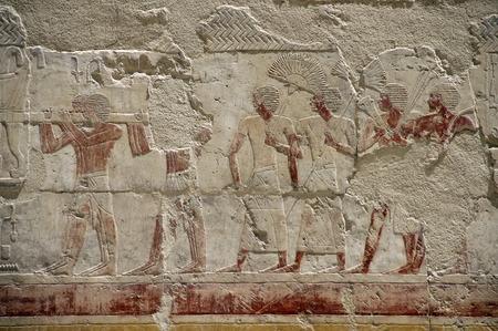 Wall fresco painting in the Temple of Queen Hatshepsut Deir el Bahri photo