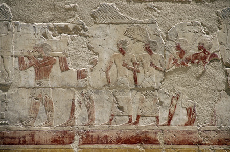Wall fresco painting in the Temple of Queen Hatshepsut Deir el Bahri Stock Photo