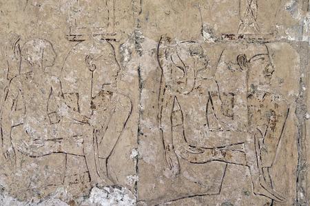 Pharaoh fresco painting in the Temple of Queen Hatshepsut Deir el Bahri photo