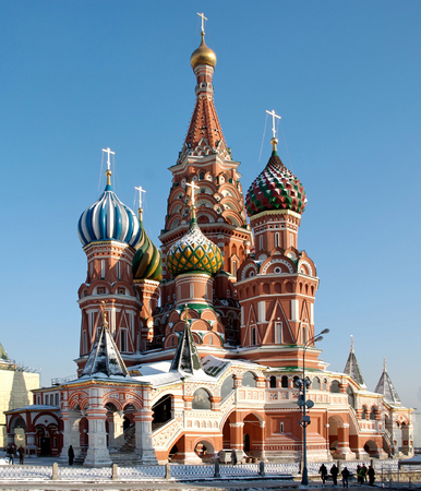 red square moscow: Catedral del de Vasily bendecido en Mosc� cuadrada roja Rusia