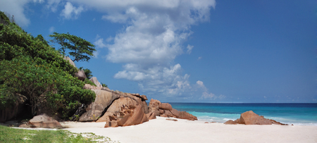 Panoramic view of Grande Anse tropical beach, Seychelles, La Digue,