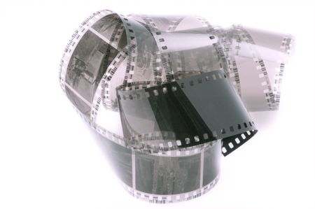 bw: picture of curled 35mm film against bright white background