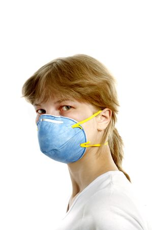 woman 20-35 years  in respirator  against white background photo