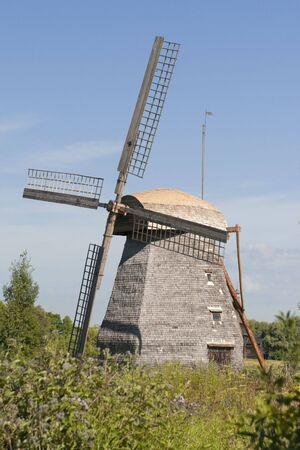 Ancient four sailed winmill at Vitoslavitsy village, Novgotod region, Russia Stock Photo - 5277488
