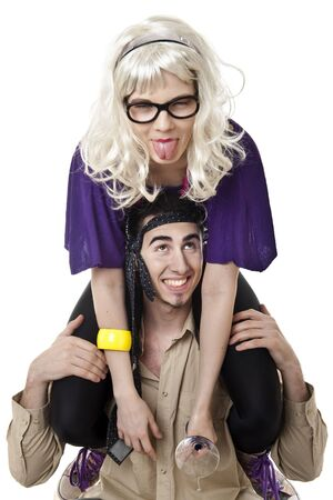 simulate: Blonde girl simulate fatique after party while ride young man  piggyback
