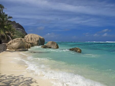argent: famous aAnse Source d Argent beach , La Digue island, Seychelles, Africa Stock Photo