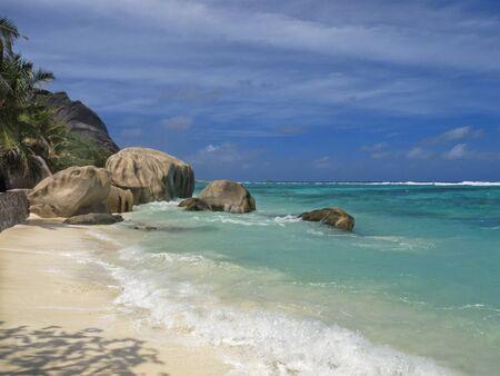 d argent: famous aAnse Source d Argent beach , La Digue island, Seychelles, Africa Stock Photo