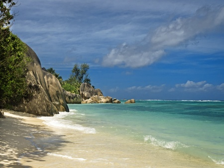 Picture of empty tropical beach at Source d'Argent, La Digue island, Seychelles Stock Photo - 11717105