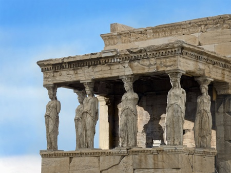The Caryatid Porch of the Erechtheion temple, north side of Acropolis, Athens, 421&acirc,407 BC, Greece Stock Photo - 12860293