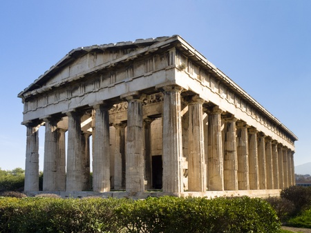 Eastern facade of Hephaistos Temple built on the top of Kolonos Agoraisos hill ( ca. 460-415 B.C.) ,  Ancient Agora of Athens, Greece Stock Photo - 12860280