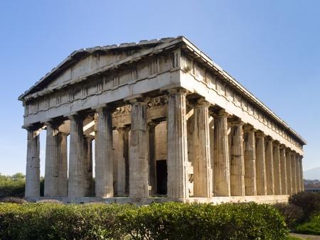 Eastern facade of Hephaistos Temple built on the top of Kolonos Agoraisos hill ( ca. 460-415 B.C.) ,  Ancient Agora of Athens, Greece Stock Photo - 12860280