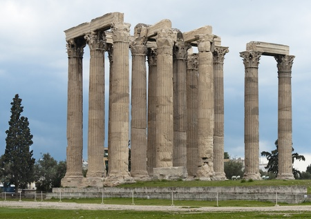 olympian: Columns of Olympian Zeus temple, Athens, Greece Stock Photo
