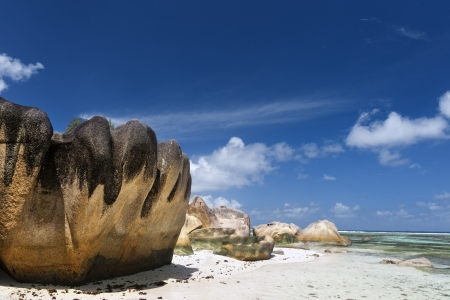 anse source d argent:  One of most beautiful beaches of Seychelles, Source d Stock Photo