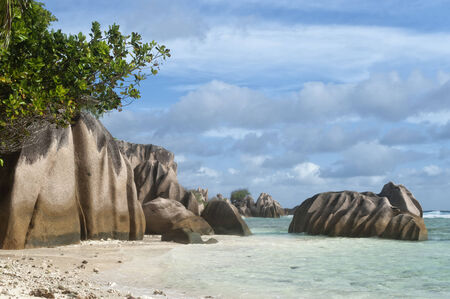 argent:  Famous Anse Source d´Argent beach on the north part of La Digue island, Seychelles, Africa