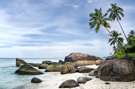 Anse aux Cedres, lovely deserted beach south-west of La Digue island, Seychelles photo