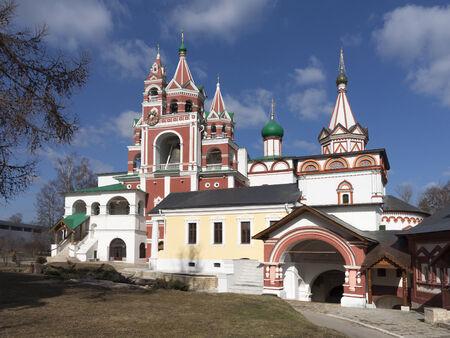 clocktower: Belfry, clocktower, Red Gates, refectory and Trinity Gate Church of  Savvino-Storozhevsky monastery, Zvenigorod, Russia Stock Photo