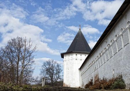 Wall and tower of  Savvino-Storozhevsky orthodox monastery established  in 1398, Zvenigorod, Russia photo