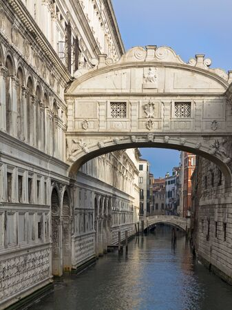 Bridge of Sighs over  Rio di Palazzo between New Prison and  interrogation rooms in the Doges Palace , Venice, Italy Editorial