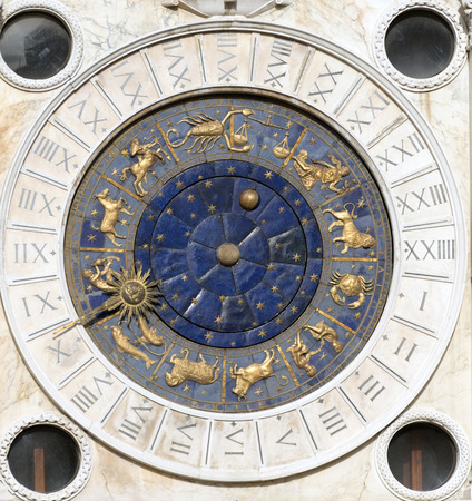 housed: Clock face housed in clocktower on San Marco square,  Venice, Italy