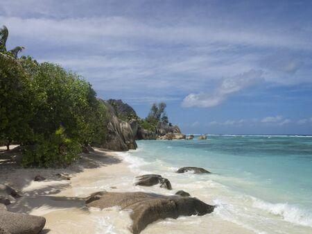 digue: la Digue island beach , Seychelles, Africa Stock Photo