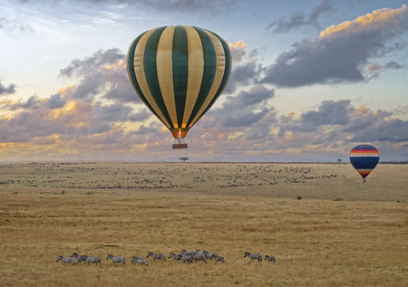 masai: Hot air balloon safari flight at the time of Great Migration in the magnificent setting of the Great Rift Valley in Kenya Stock Photo