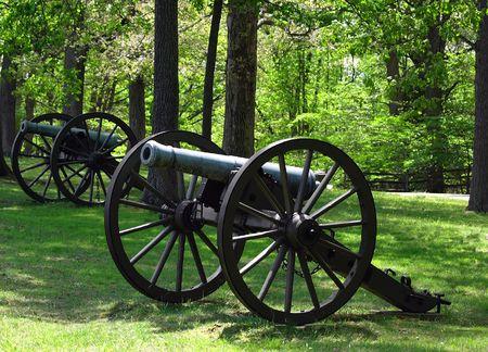 va: Civil War cannons located at the Fredericksburg, VA Battlefiled.   Stock Photo