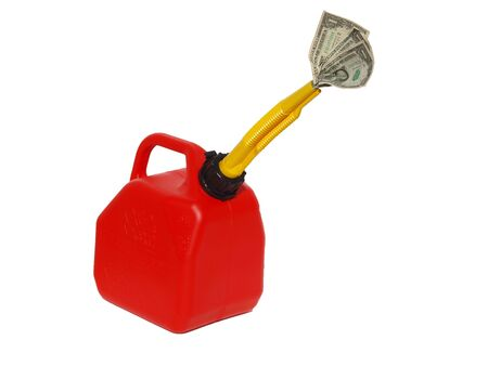 spout: Red gas can with money in spout
