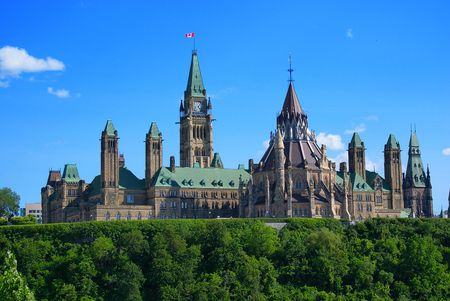 Government of Canada Parliament Buildings as seen from the rear.