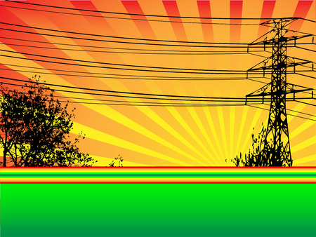 The silhouette of a large hydro tower and trees in front of a setting sun.