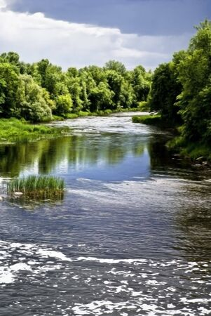 Photo-realistic digital painting of a peaceful, blue river flowing over rapids in a lush, green forest.