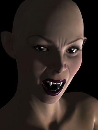 Een kale vrouwelijke vampier snarling en tanden weer gegeven:  Stockfoto
