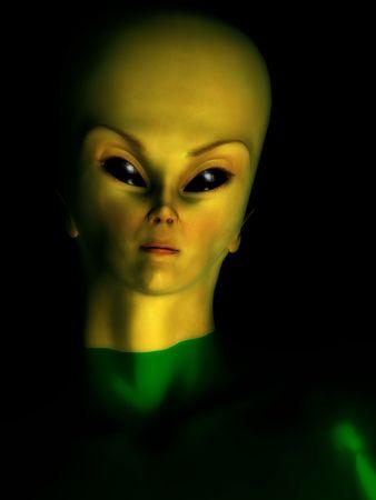 Portrait image of a female alien hybrid creature.