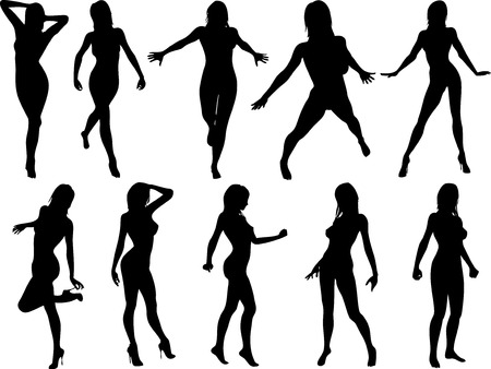 Ten female pose silhouettes vector