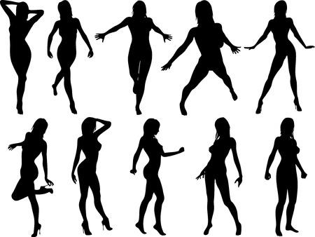 silhouettes: Ten female pose silhouettes vector