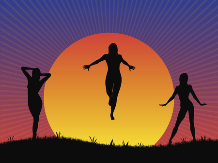 silhouettes: Vector illustration of three female silhouettes in front of a setting sun