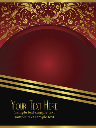 An elegant royal burgundy background vector with ornate gold lead design elements. Vector