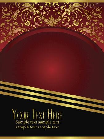 An elegant royal burgundy background vector with ornate gold lead design elements.