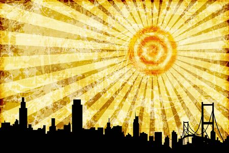 A silhouette of a city skyline with a grunge style artistic rendering of the sky and sun.