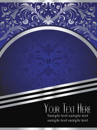 royal blue background: An elegant royal Blue background vector with ornate silver leaf design elements.
