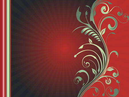 A red and green holiday vector template for cards, posters or announcements.