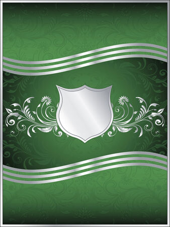 A luxurious emerald green vector background template with ornate silver leaf design flourishes