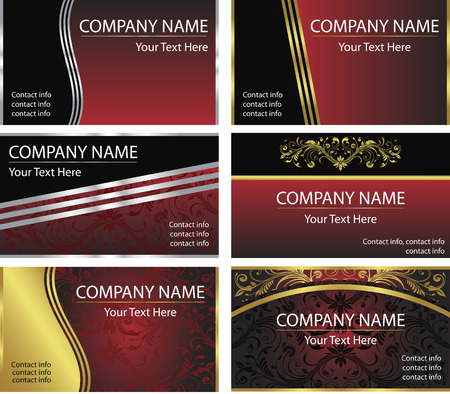 A set of six corporate, elegant business card background templates in vector format. Ilustracja