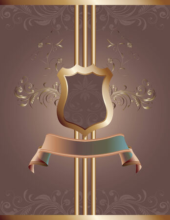 A decorative background with banner, shield and ornamental flourishes. Perfect for various printed materials. Çizim