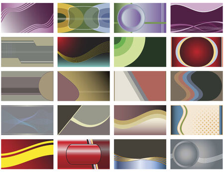 A collection of twenty abstract background designs perfect for business cards or web backgrounds.