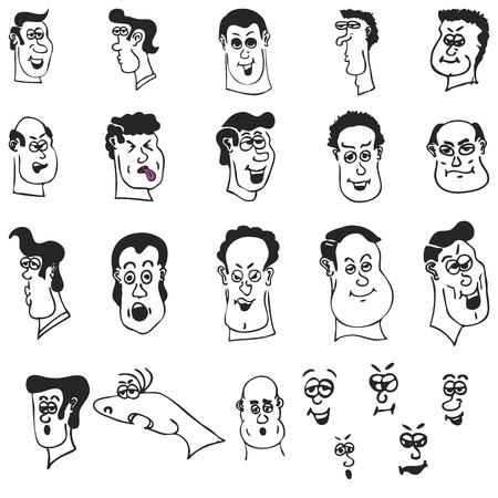 面白い漫画ヘッドとベクトル形式で男性の顔のセット  イラスト・ベクター素材