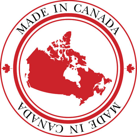 Made in Canada circular vector stamp featuring maple leaf and map of Canada in official Canada flag colors. Vector