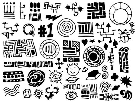 A collection of unique, hand-drawn design elements in vector format.