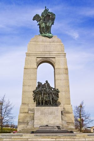 The Canadian National War Memorial statue at the tomb of the unknown soldier in Ottawa, Ontario, Canada.
